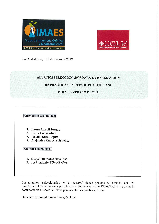 Alumnos seleccionados del curso HAZOP 2019 para realizar prácticas en Repsol-Puertollano en el verano 2019